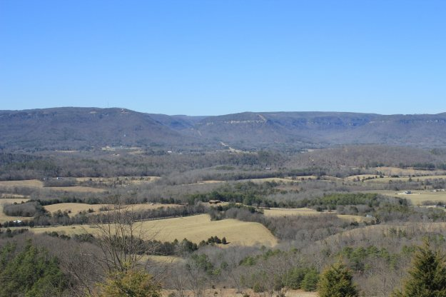 Sequatchie Valley as seen from roadside overlook. Dunlap, TN and previously mentioned descent in the center.
