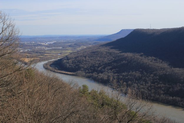 View of the Tennessee River and valley from Signal Point with Lookout Mountain in center-right background.
